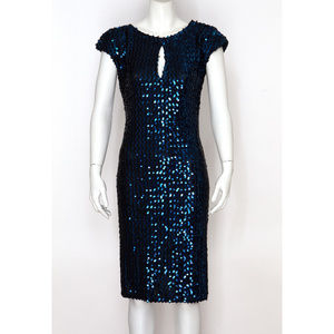 Vintage Blue Sequin Keyhole Dress with Deep V Back